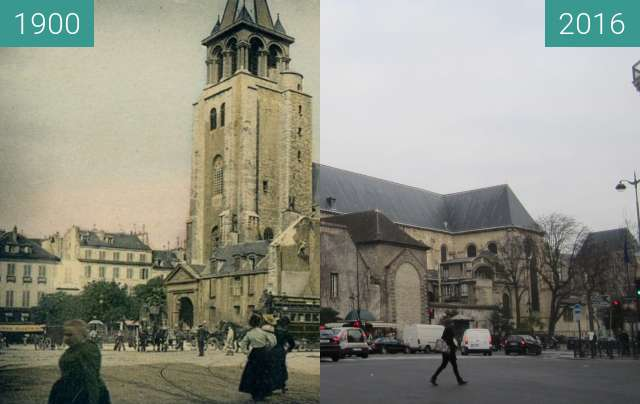 Before-and-after picture of St. Germain-des-Près between 1900 and 2016-Jan-19
