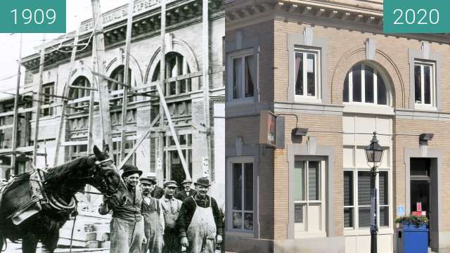 Before-and-after picture of City National Bank between 1909-Jan-12 and 2020-Sep-04