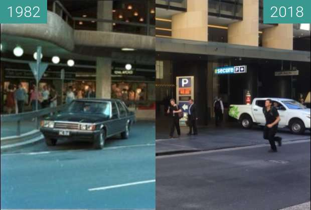 Before-and-after picture of Sydney Hilton Hotel between 1982 and 2018-Jan-17