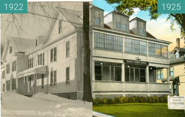Before-and-after picture of Bradbury Hospital Belfast, Maine between 1922 and 1925