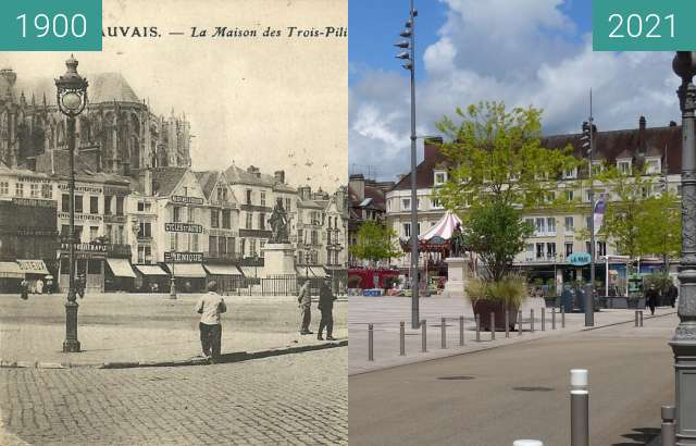 Before-and-after picture of Place Jeanne Hachette between 1900 and 05/2021