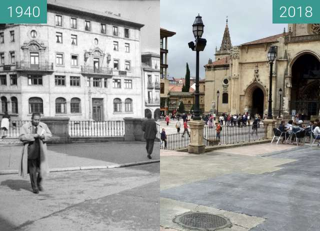 Before-and-after picture of Plaza de la catedral de Oviedo en 1940 between 1940 and 2018-Jun-02