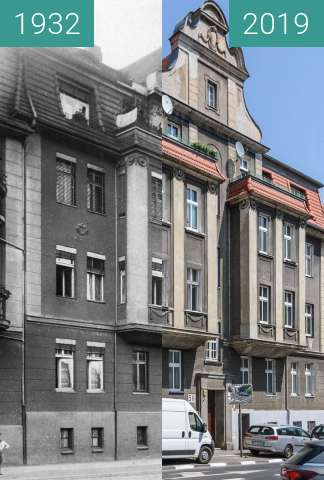 Before-and-after picture of Ulica Poznańska nr 58 between 1932 and 2019