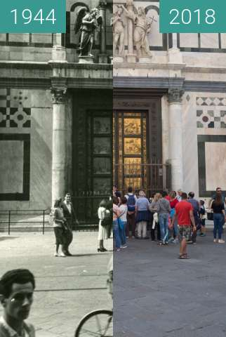 Before-and-after picture of Florence, Italy 1944/2018, Baptistery of St. John between 07/1944 and 2018-May-18