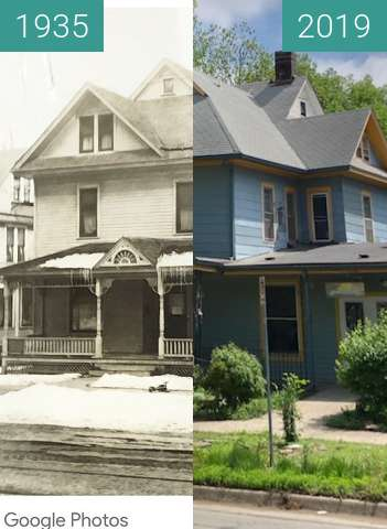 Before-and-after picture of 1406 Tennessee, Lawrence, Kansas between 1935-Oct-22 and 2019-May-01