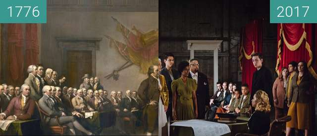 Before-and-after picture of The Declaration of Independence between 1776 and 2017