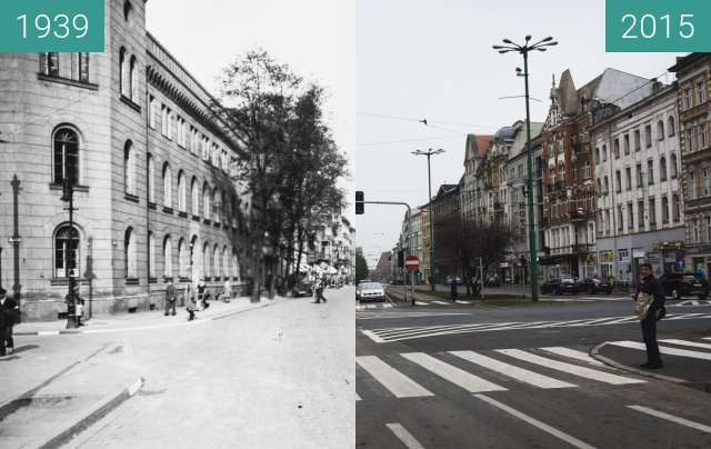 Before-and-after picture of Ulica Św. Marcin between 1939 and 2015