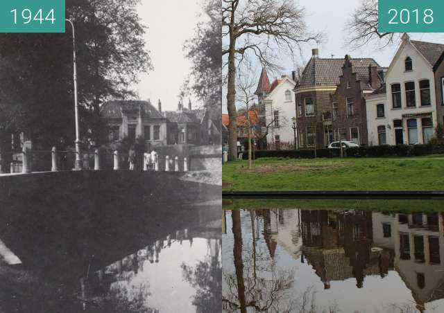 Before-and-after picture of Emmabrug Alkmaar During World War ll between 1944 and 2018-Apr-11