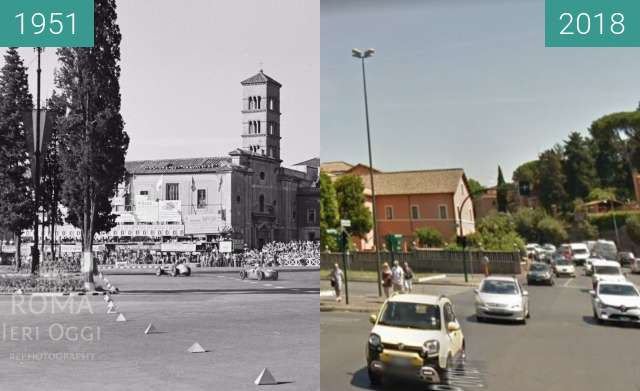 Before-and-after picture of Gran Prix of Rome, Terme di Caracalla between 1951 and 2018