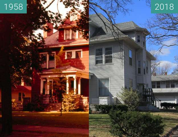 Before-and-after picture of Beasley-Clark House - Terre Haute - Collette Park between 1958 and 2018-Mar-13