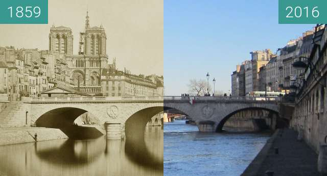 Before-and-after picture of Pont St. Michel between 1859 and 2016-Feb-16