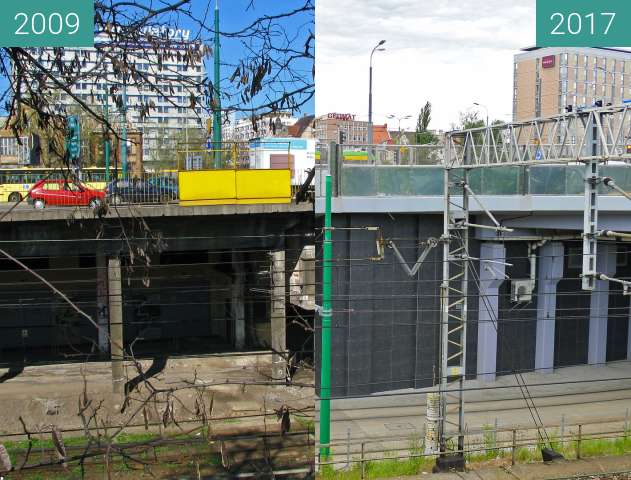 Before-and-after picture of Kaponiera Poznań. between 2009 and 2017
