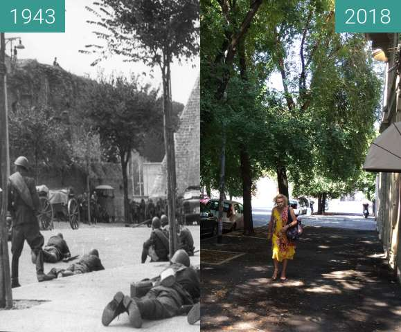 Before-and-after picture of Battle of Rome, Porta San Paolo, 1943 between 1943-Sep-09 and 2018-Aug-05