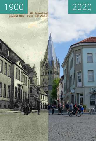 Before-and-after picture of Rathausstraße between 1900 and 05/2020