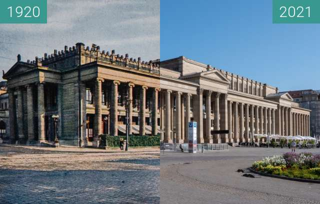 Before-and-after picture of Stuttgart, Königsbau between 1920 and 2021-Jul-18