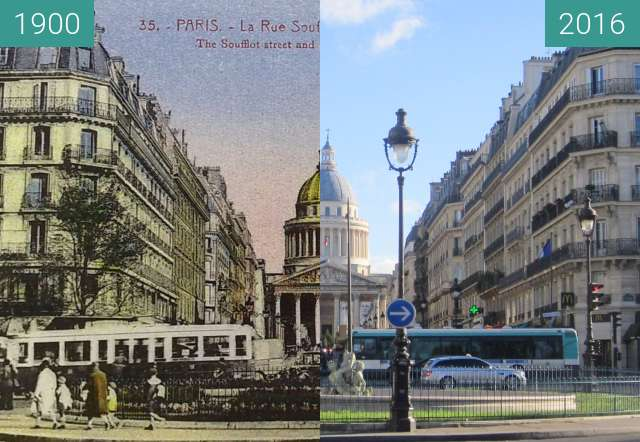 Before-and-after picture of Rue Soufflot/Panthéon between 1900 and 2016-Jan-15