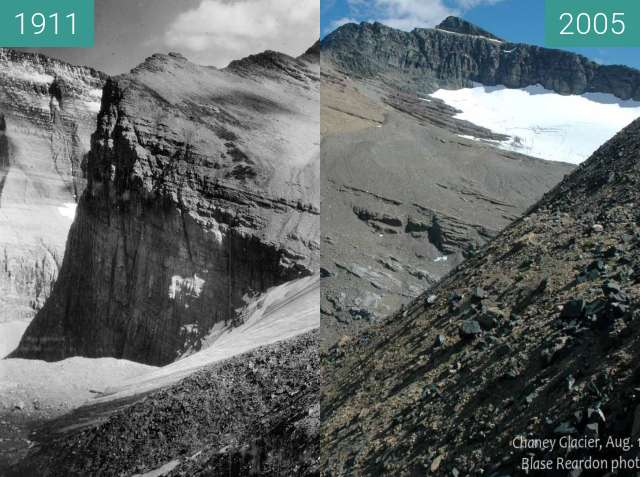 Before-and-after picture of Chaney Glacier between 1911 and 2005-Aug-19