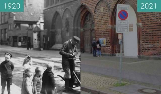 Before-and-after picture of Lübeck Katharinenkirche between 1920 and 2021-Sep-24