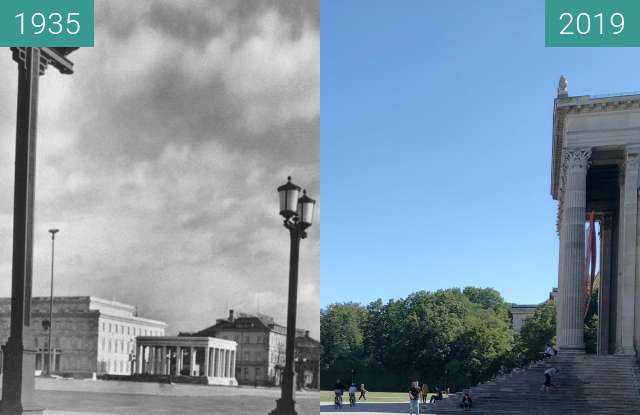 Before-and-after picture of Königsplatz zur NS-Zeit between 1935 and 2019-Sep-04