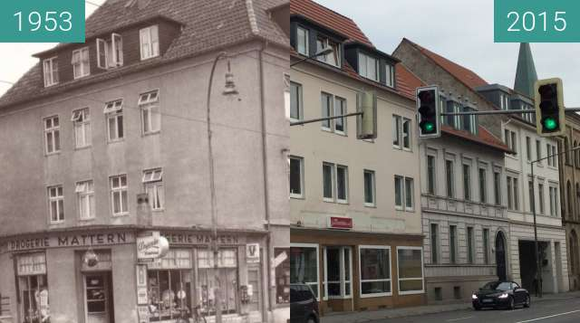 Before-and-after picture of Martinistraße 14 between 1953 and 2015-Dec-03