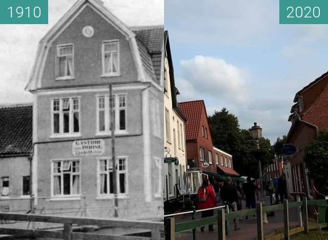 Before-and-after picture of Hotel Greetsieler Börse between 1910 and 2020-Sep-11
