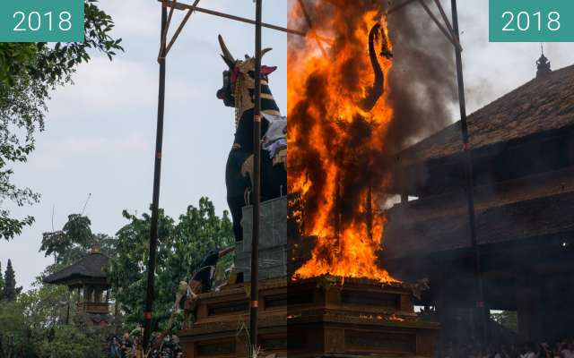 Before-and-after picture of Royal Cremation Ceremony (Pelebon) in Ubud, Bali between 2018-Mar-02 and 2018-Mar-02