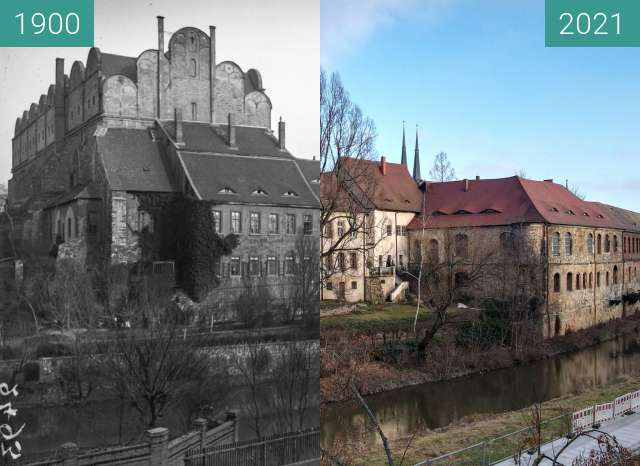 Before-and-after picture of Dom zu Halle between 1900 and 2021-Feb-28