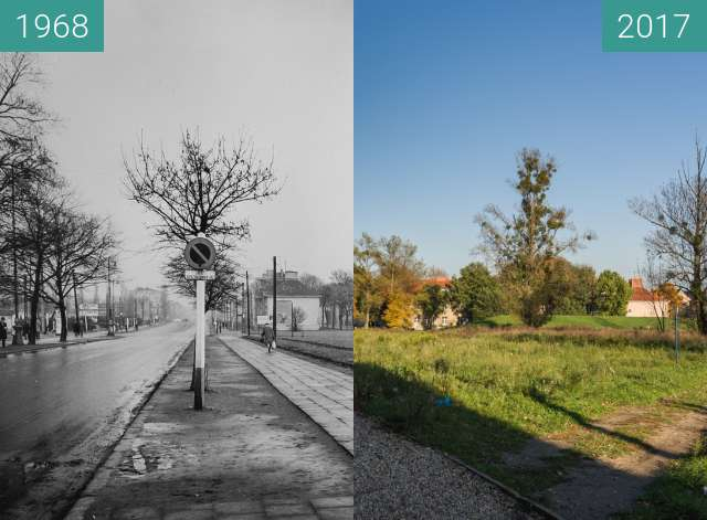 Before-and-after picture of Glogauerstrasse between 1968-Aug-06 and 2017-Oct-06