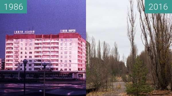 Vorher-Nachher-Bild von Pripyat, Rajon Tschornobyl, Ukraine zwischen 1986 und 2016