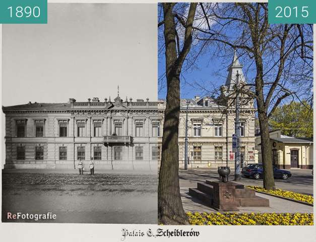 Before-and-after picture of Scheibler Family Palace between 1890 and 2015