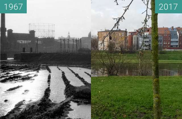 Before-and-after picture of Rzeka Warta, widok na Chwal between 1967 and 2017