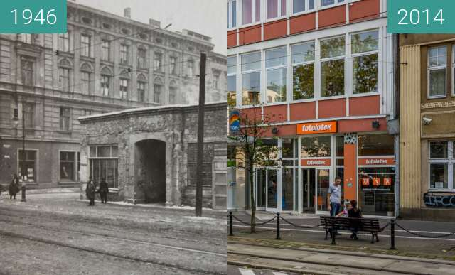Before-and-after picture of Delikatesy Kasia, ulice 27 Grudnia/Kantaka between 1946-Sep-15 and 2014-Sep-15