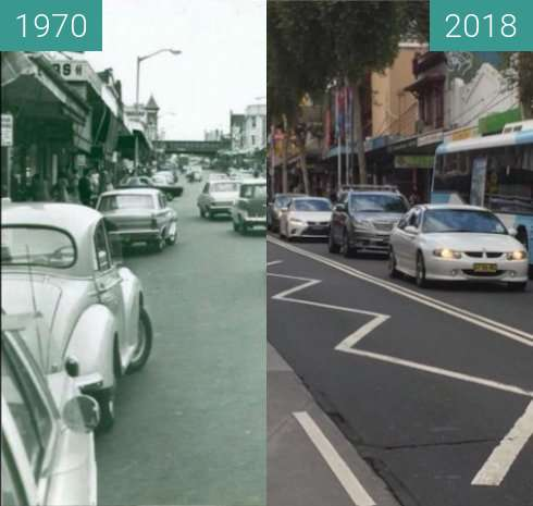 Before-and-after picture of Burwood Road, Burwood between 1970 and 2018