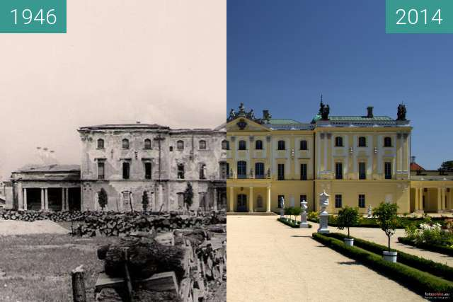 Before-and-after picture of Pałac Branickich between 1946 and 2014