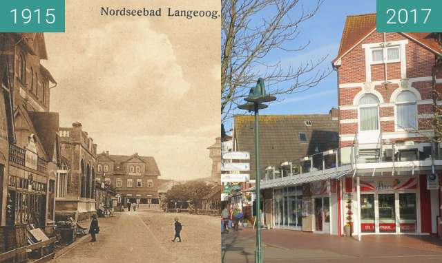 Before-and-after picture of Strandstraße between 1915 and 2017-Mar-31