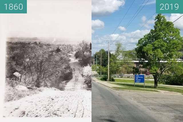 "Before-and-after picture of 9th and Avalon ""KU Rephotography"" between 1860 and 2019-May-06"