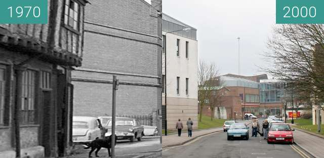 Before-and-after picture of Much Park Street, Coventry between 1970 and 2000