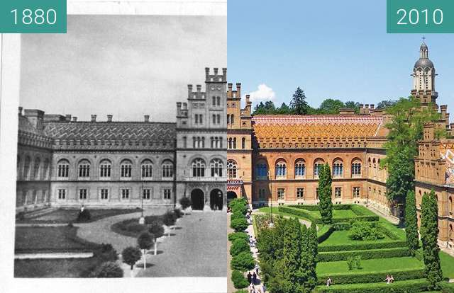 Before-and-after picture of Chernivtsi National University between 1880 and 2010