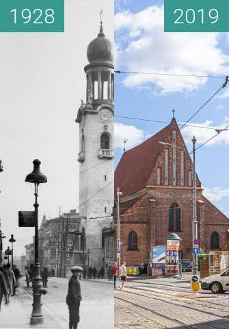 Before-and-after picture of Ulica Św. Marcin between 1928 and 2019