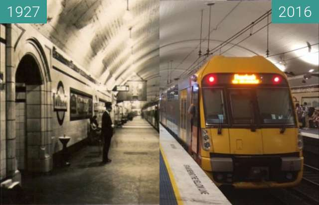 Before-and-after picture of Museum Station between 1927 and 2016