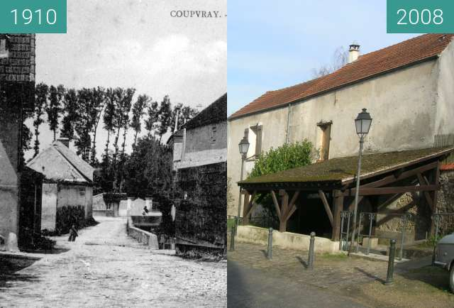Before-and-after picture of Coupvray: lavoir d'en bas between 1910 and 2008-Jan-26