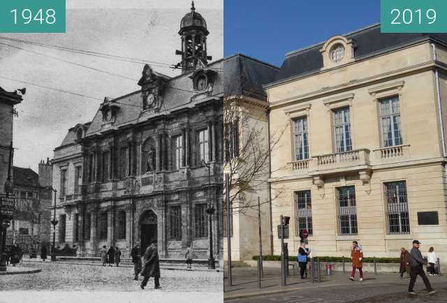 Before-and-after picture of Hôtel de ville between 1948 and 2019-Mar-23