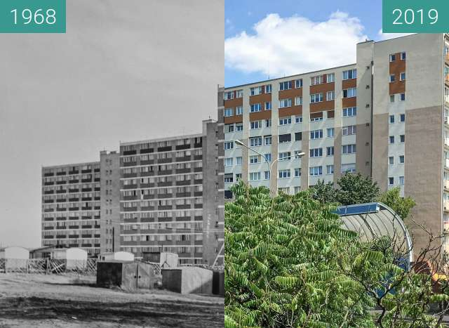 Before-and-after picture of Ulica Niestachowska between 1968 and 2019-Jul-25