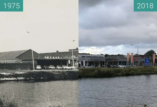 Before-and-after picture of Garage Klaver in Alkmaar between 1975 and 2018-Aug-16