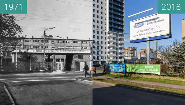 Before-and-after picture of Ulica Marszałkowska between 1971 and 2018-Feb-02