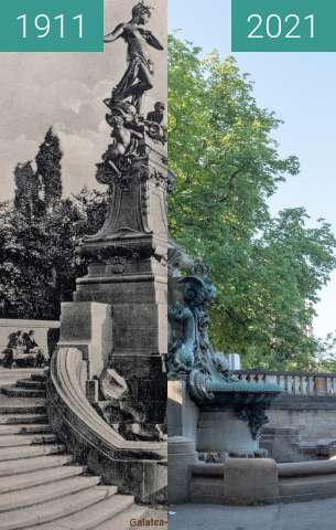 Before-and-after picture of Stuttgart, Galateabrunnen between 1911 and 2021-Jul-18