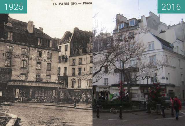 Before-and-after picture of Place de la Contrescarpe between 1925 and 2016-Jan-12