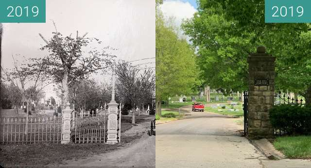 Before-and-after picture of Oak Hill Cemetery, Lawrence, KS. KU Rephotography. between 2019-Apr-30 and 2019-May-06