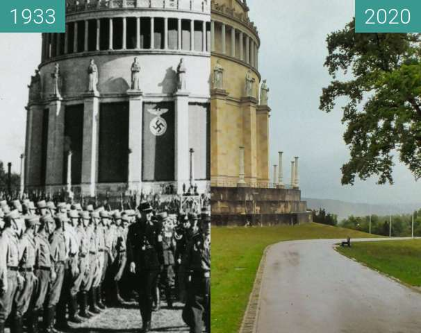 Before-and-after picture of Befreiungshalle Kelheim between 1933-Oct-22 and 2020-Sep-25