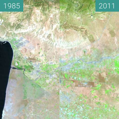 Before-and-after picture of Urban growth in southwestern Morocco between 1985-Jul-02 and 2011-Jun-24